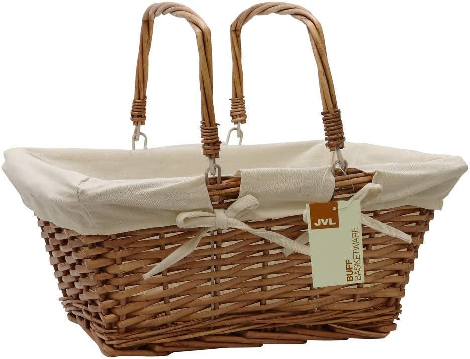 JVL Split Shopping/Hamper Storage Basket with Cream Lining, Buff Willow, One Size