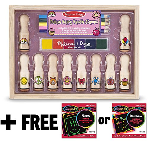Deluxe Happy Handle: Wooden Stamp Set + FREE Melissa & Doug Scratch Art Mini-Pad Bundle [23061]