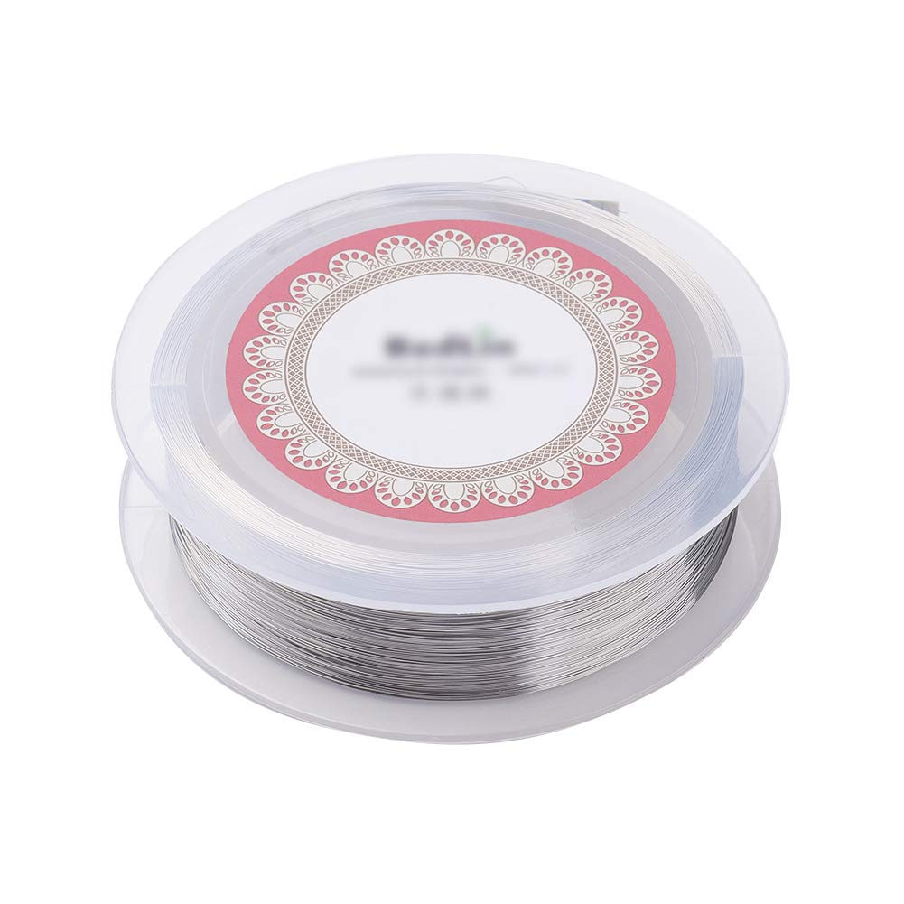 0.1mm; about 800m//roll PandaHall Steel Wire Silver