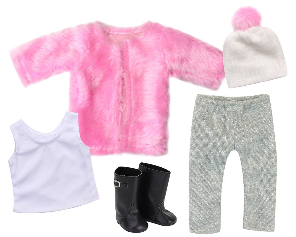 Sophia/'s White Pom-pom Doll Hat White Tank /& Black Boots Perfect American Dolls /& More Pink Shaggy Doll Coat Sophias Doll Clothes 18 Inch Doll 5 Piece Winter Set Silver Leggings