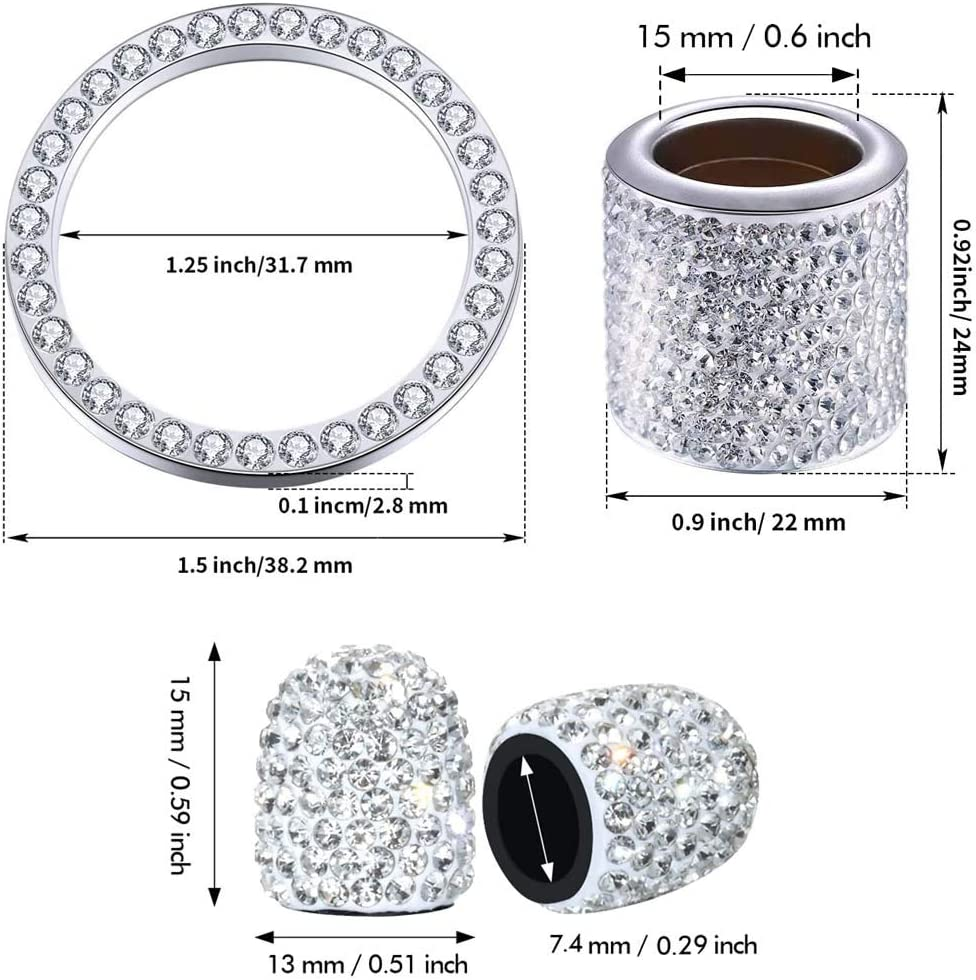 9 Pieces Bling Crystal Diamond Car Accessories Set Includes Headrest Collar Valve Stem Caps Tire Valve Dust Caps for Women Girls Favors Ring Emblem Sticker