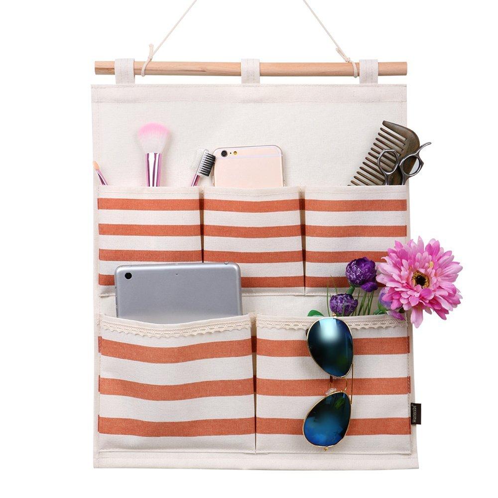 Homecube Linen Cotton Fabric 5 Pockets Wall Door Cloth Hanging Storage Bag Home Organizer (Navy Stripe)