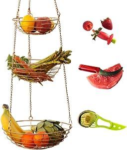 Kitchen Science Sturdy Metal 3 Tier Hanging Fruit Basket | Classy rose gold kitchen organizer | Multi-functional Storage | Hanging Planter | Craft Organizer | Bathroom Organizer | With Bonus Accessories