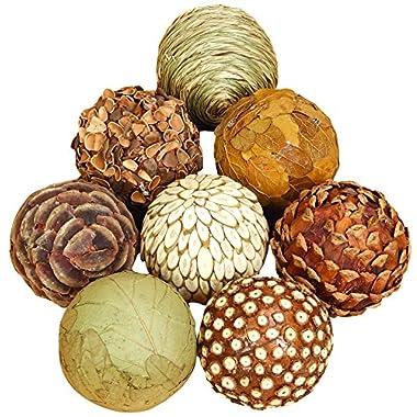 Benzara Natural Ball Bamboo Wood Balls, Set of 8