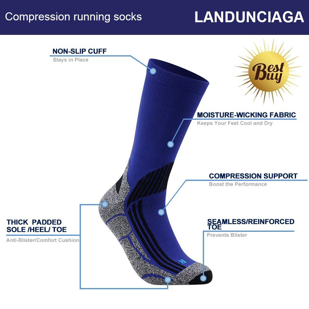 LANDUNCIAGA 12-15mmHg Compression Cushion Quarter Hiking Sports Cycling Travel Socks,1//3 Pairs Crew Running Socks