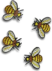 BEE SMALL YELLOW//BLACK IRON ON BEE PATCH APPLIQUE  3//4 X 5//8 inch