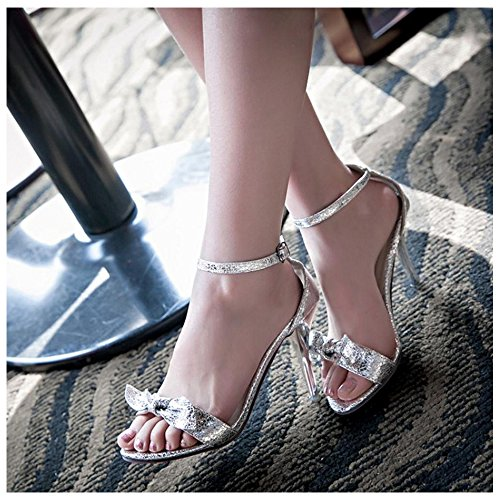 Simple Silver TAOFFEN Sandals Shoes Straps Heels Women 1wq5PwT