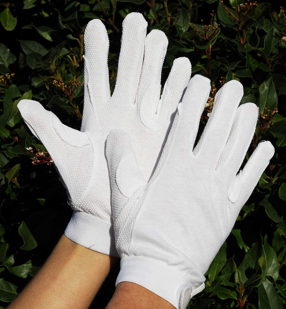 Rhinegold Unisexs White Cotton Pimple Gloves-X Small Extra