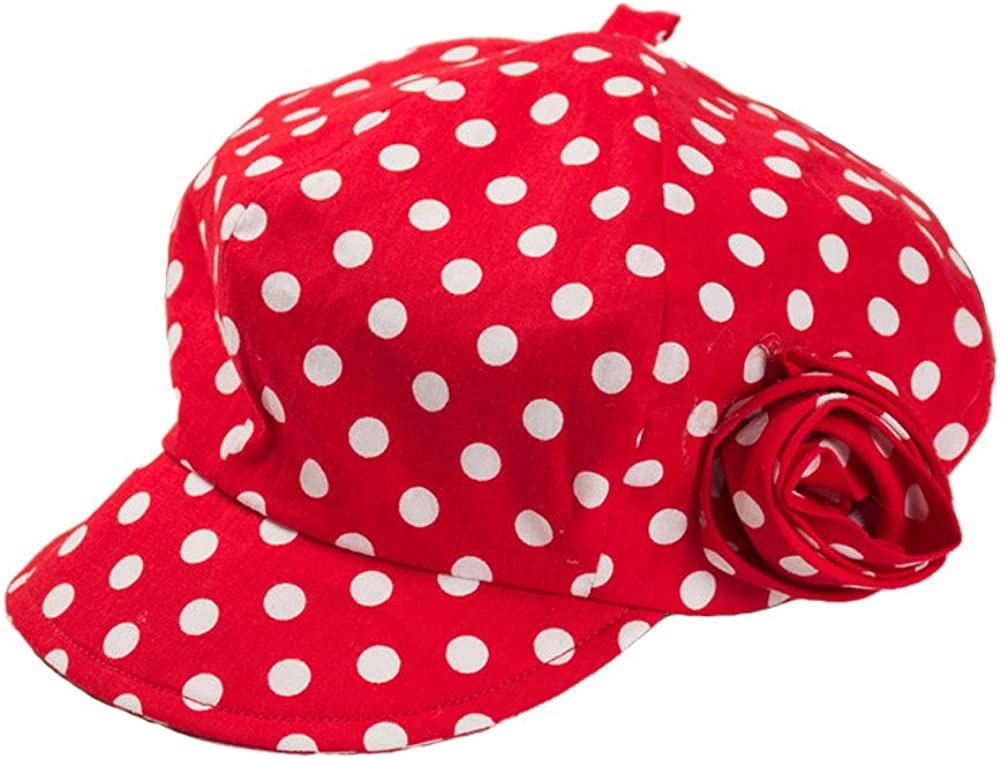 Aiklin Baby Girls Sun Hat Cotton Red Newsbooy Hat With White Spots