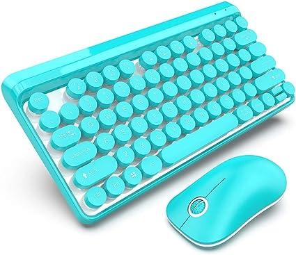 CHENMKL Teclado Inalámbrico Mouse, Set 2.4G Wireless Retro ...