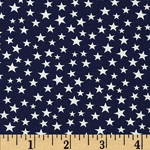 Santee Print Works 0375568 Made in the USA Stars White/Navy Fabric by the Yard -