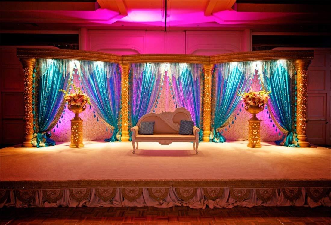 Yeele 5x3ft Photography Background Vintage Indian Wedding Luxury Marriage Mandap Stage Curtain Sofa Pillows Flowerpots Traditional India Custom