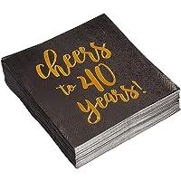 Servilletas de papel desechables para fiesta de cumpleaños o cóctel, paquete de 50 servilletas de papel dorado para 40 años, perfectas para suministros de fiesta de 40 cumpleaños, decoraciones de aniversario, 12,7 x 12,7 cm, plegadas, color negro