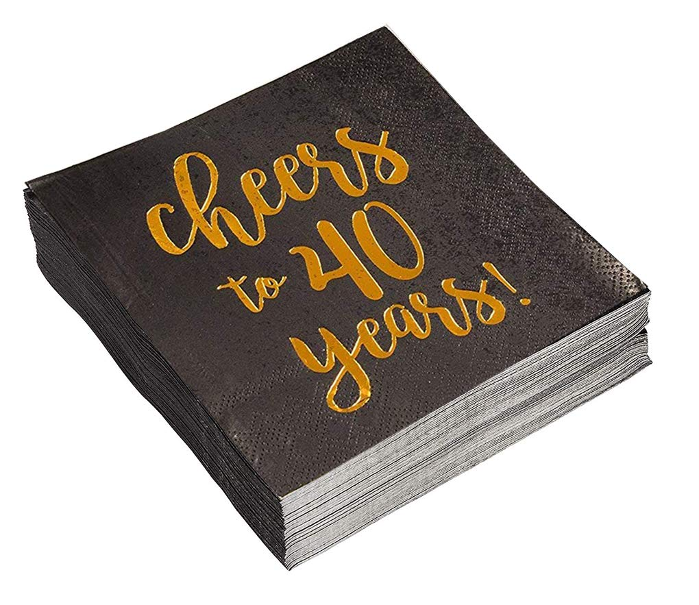 Birthday Party Cocktail Napkins - 50 Pack Gold Foil Cheers to 40 Years Disposable Paper Napkins, Perfect for 40th Birthday Party Supplies, Anniversary Decorations, 5 x 5 Inches Folded, Black by Blue Panda