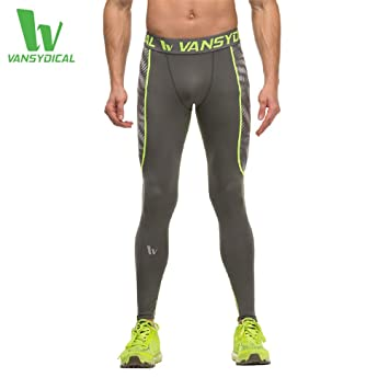 a9271dfb2038f Vansydical Men's Compression Pants Running Tights Basketball Gym Pants  Bodybuilding Jogger Skinny Leggings Trousers (MAMP6052