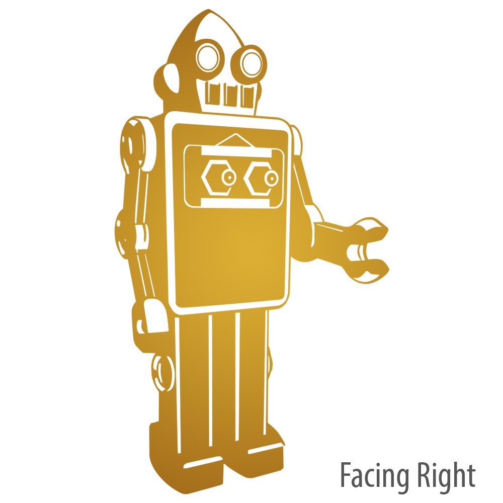 Retro Futuristic Robot Technology Removable Vinyl Wall Decal, Facing Right, Color Bronze (metallic), Large by Print and Décor