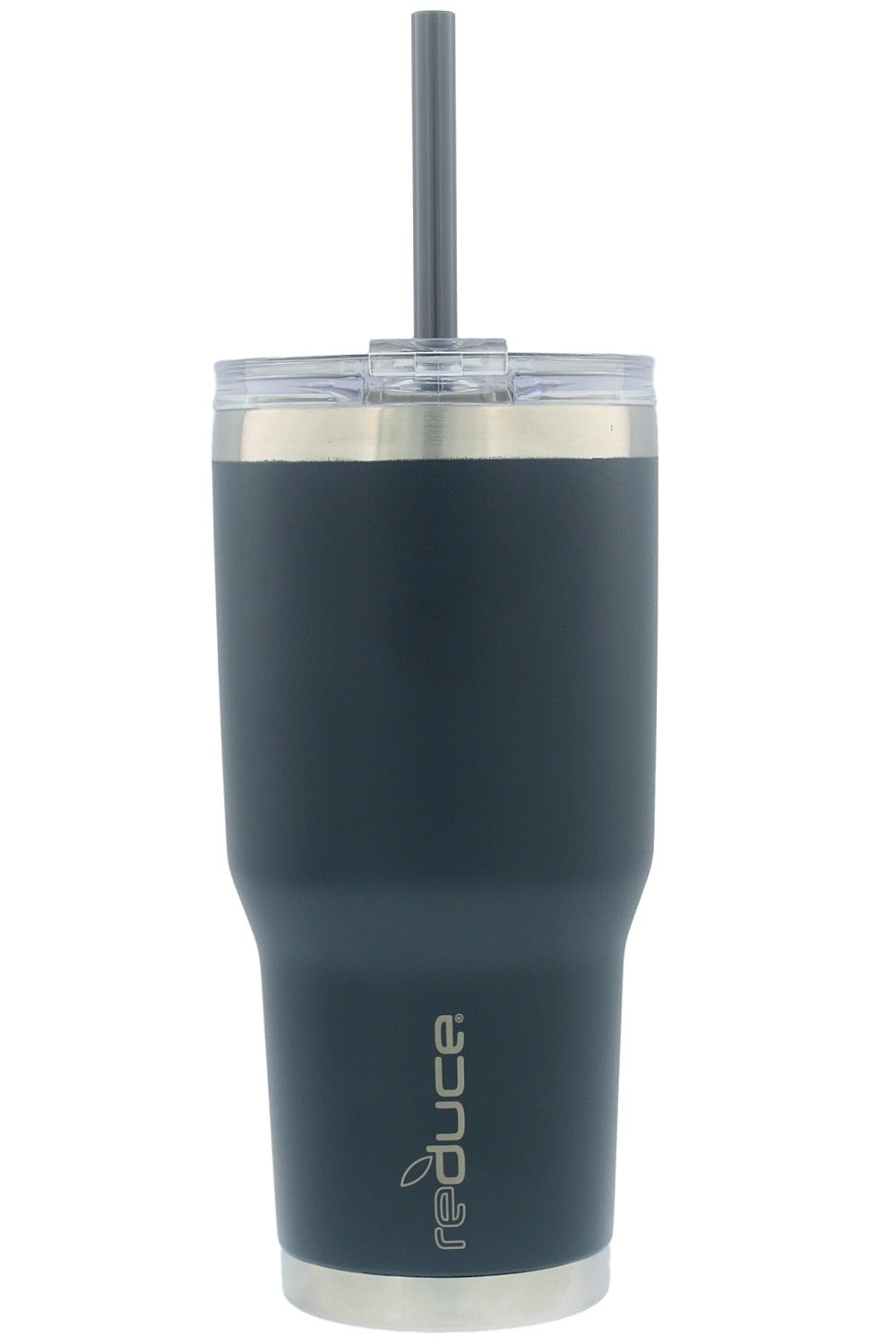 reduce COLD-1 Vacuum Insulated Stainless Steel Tumbler with Straw, 3-in-1 Lid - Tasteless and Odorless, 34oz - Powder Coat (Charcoal)