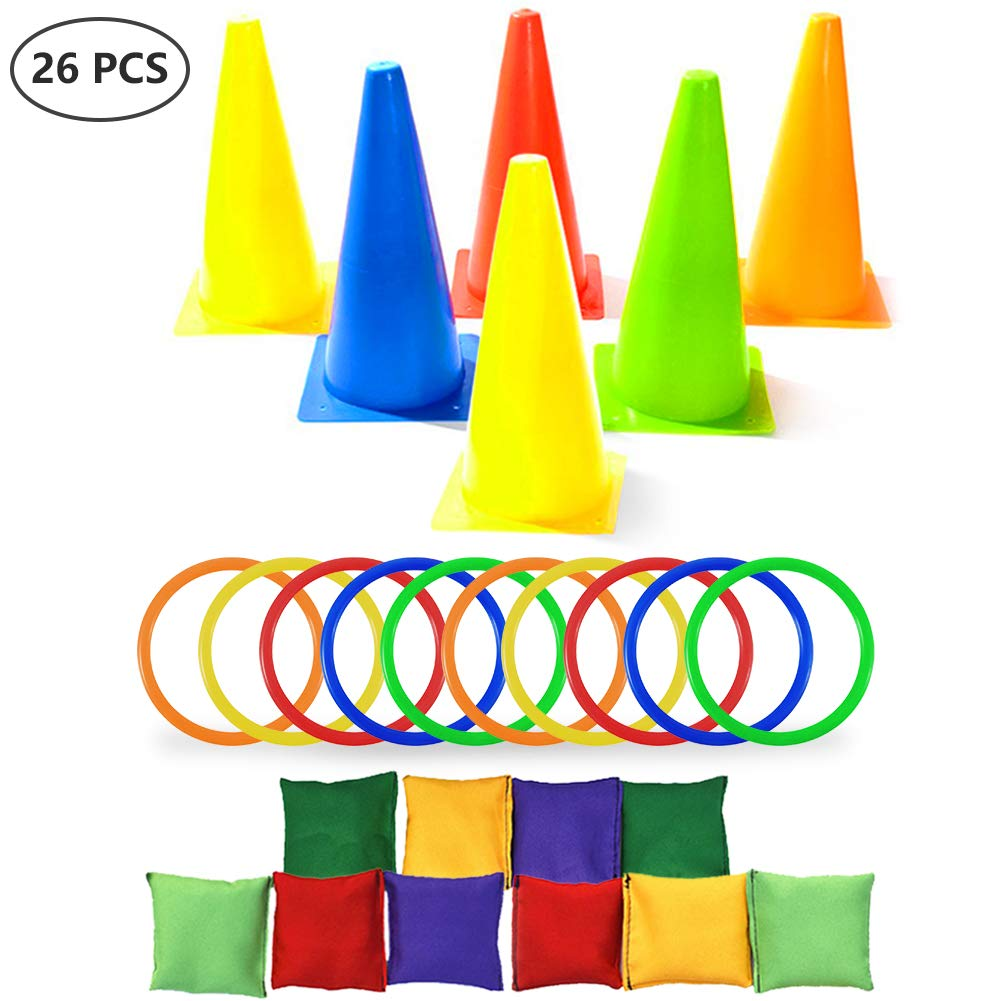Asubaby 3 in 1 Carnival Outdoor Games Combo Set Cornhole Bean Bags Ring Toss Game and Birthday Party Outdoor Games Supplies Plastic Cone Set 26 Piece Set by Asubaby