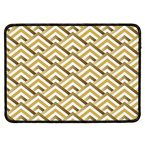 (Gold and White Wristband Mouse Pad,Pyramids Inspired Triangle Zig Zags with Inner Details Art for Home Desk Computer Desk,9.84''Wx11.81''Lx0.12''H)