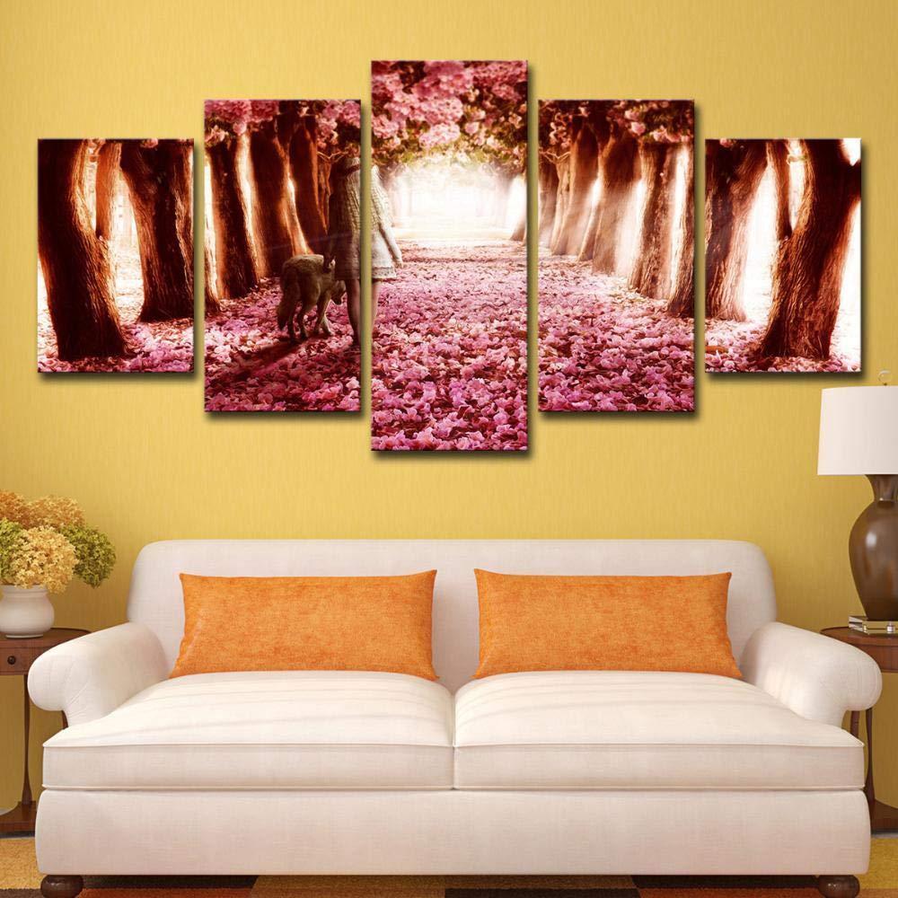 ChuangYing La La La impresión de HD Cartel Pegatina hogar decoración Pa rojo  Adhesivo 5 romántica Flor de Cerezo Pintura de la Pa rojo  b666a0