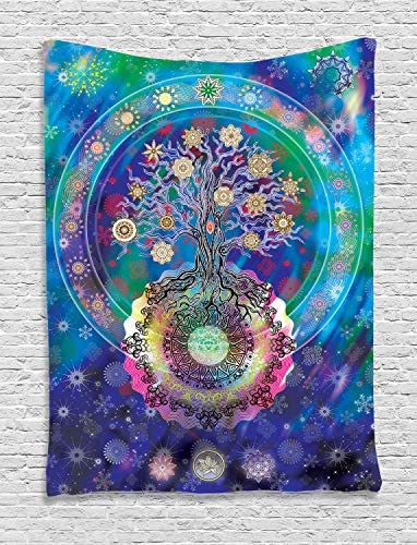 Ambesonne Home Decor Collection, Tree of Life with Floral Style Mandala Artwork Meditation Peace Spa Design, Bedroom Living Room Dorm Wall Hanging Tapestry, Blue Purple