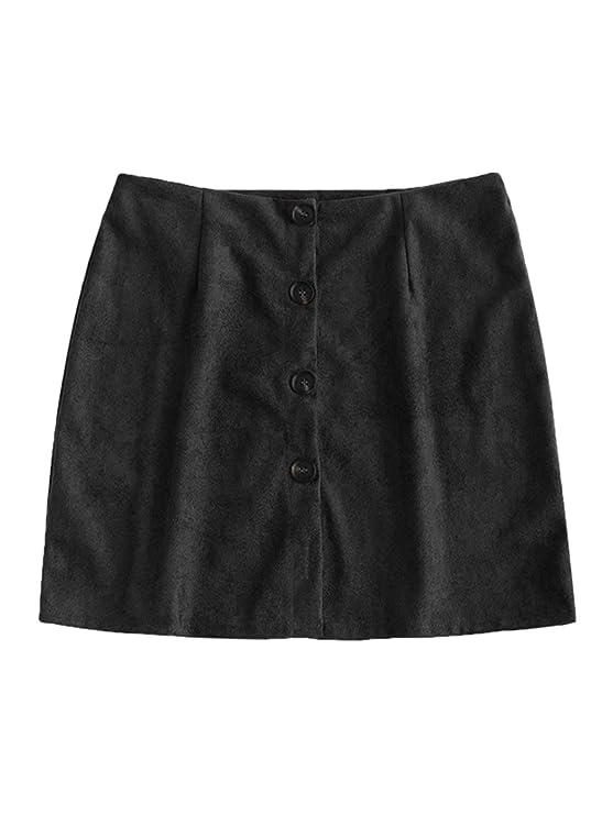 62d9e7e3a ZAFUL Women's Junior High Waist Faux Suede Button Plaid Zipper Closure  A-Line Mini Short Skirt: Amazon.co.uk: Clothing