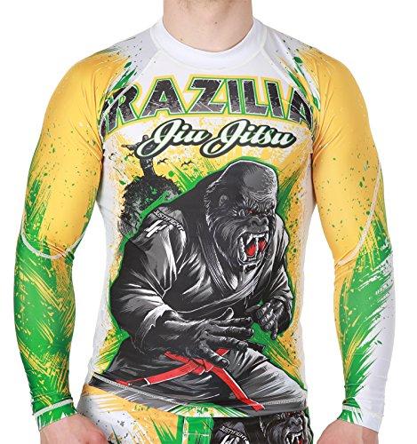MMA Grappling Maglietta a Compressione Rash Guard BJJ a Maniche Lunghe Bianco Unisex Men /& Woman,