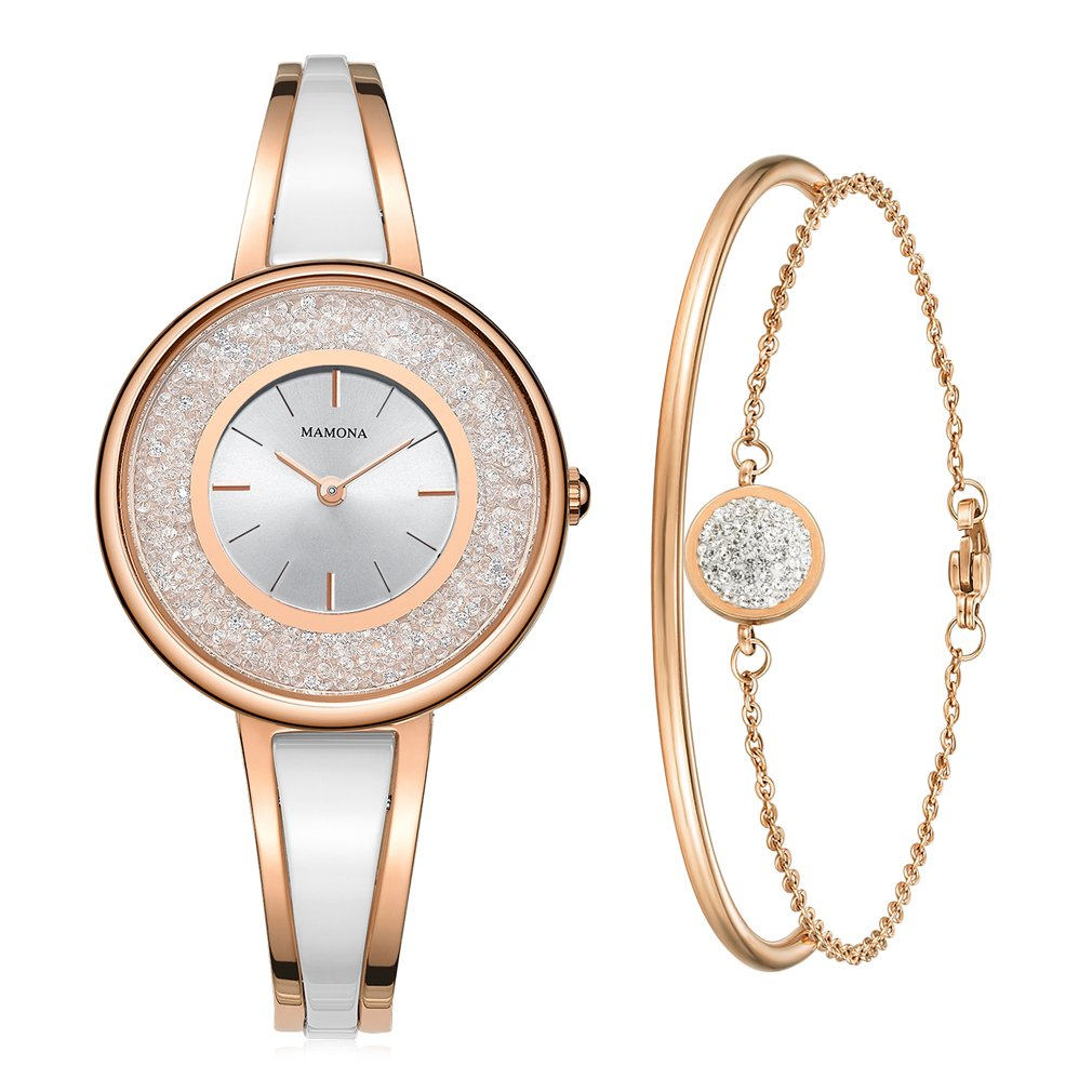 MAMONA Women's Rose Gold-Tone Bangle Watch and Bracelet Set L3889RGGT
