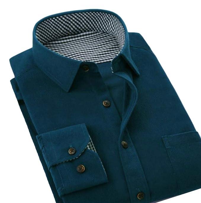 a69fb9387 Pandapang Men Turn Down Classic Tops Corduroy Long Sleeve Button Front  Shirts Blackish Green XS