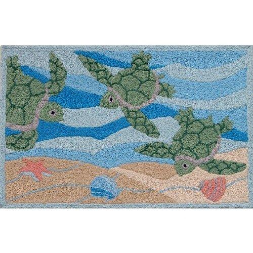 Jellybean Sea Turtle Beach Indoor Outdoor Rug (Jelly Bean Kitchen Rugs)