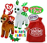 "TY Beanie Babies ""Christmas Reindeers"" Tinsel (Brown/Red) & Peppermint (White/Green) Holiday Gift Set Bundle with Bonus ""Matty's Toy Stop"" Storage Bag - 2 Pack"