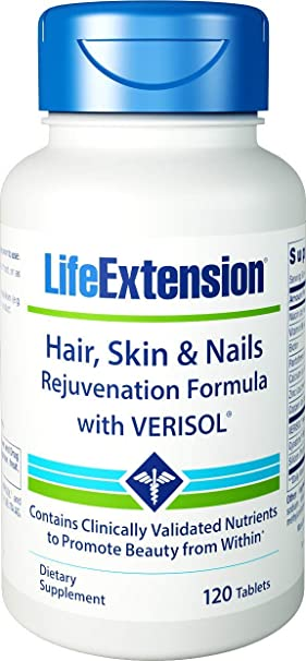 Life Extension Hair/Skin and Nail Rejuvenation Formula with Verisol, 90 Count: Amazon.es: Salud y cuidado personal