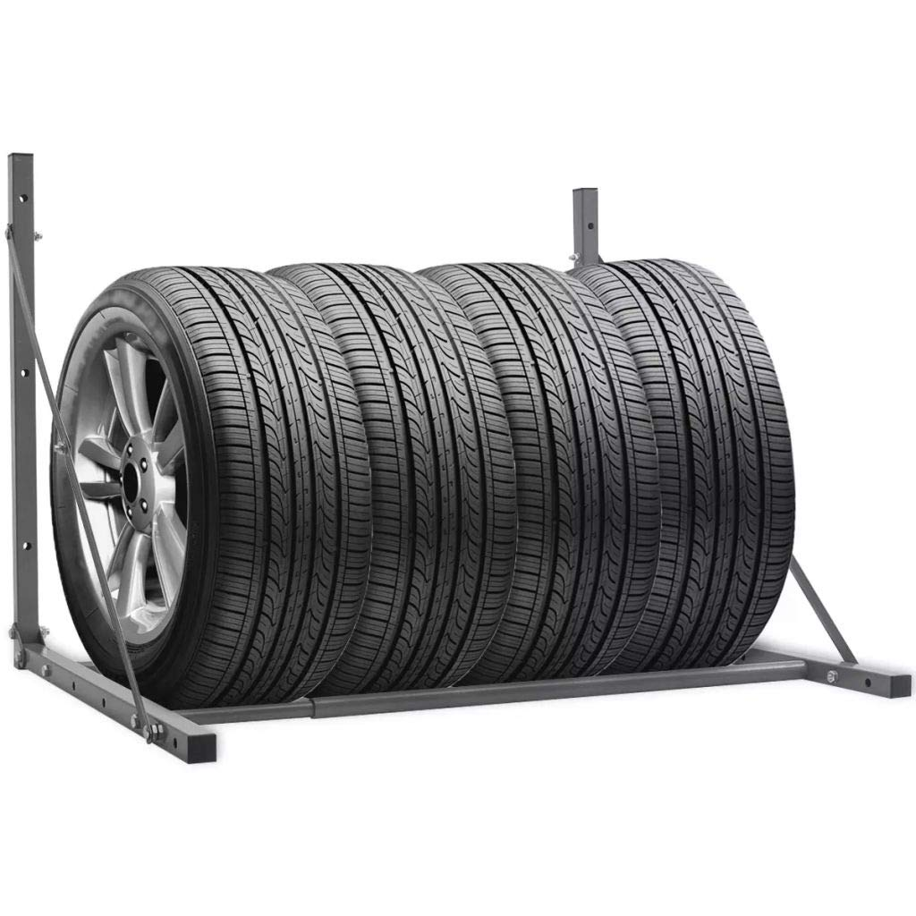 TecTake Wheel Tyre Track Rim Storage Stand for 4 Tyres up to 295 mm