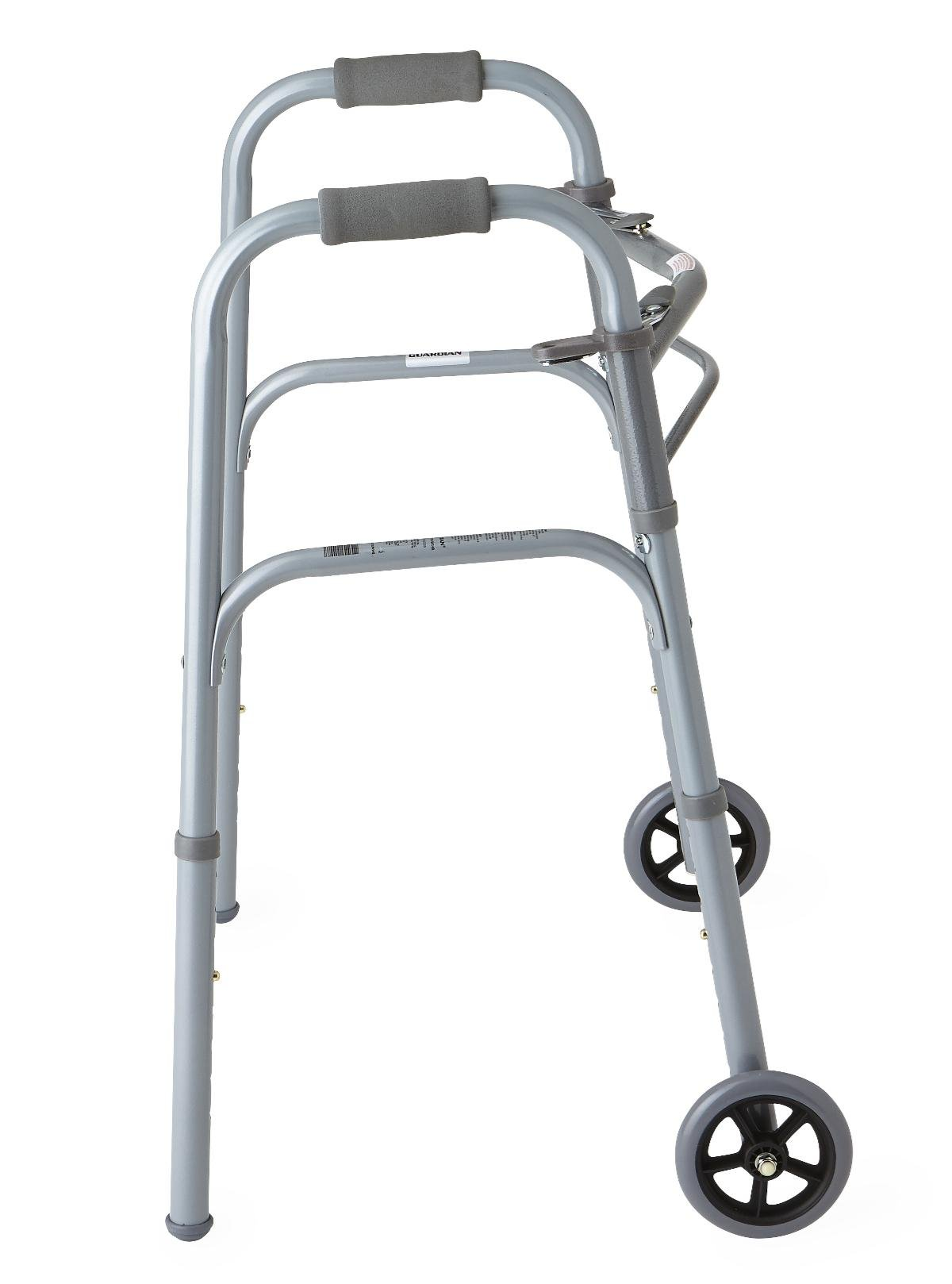 """Medline Junior Two-Button Folding Walker with 5'' Wheels, For Users 4'6"""" to 5'5"""""""