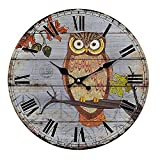 YeYo 20inch Owl Wall Clock Made of Wood Battery Operated Home Decoration French Country Silent Clock Painted Retro Style for Children's Room