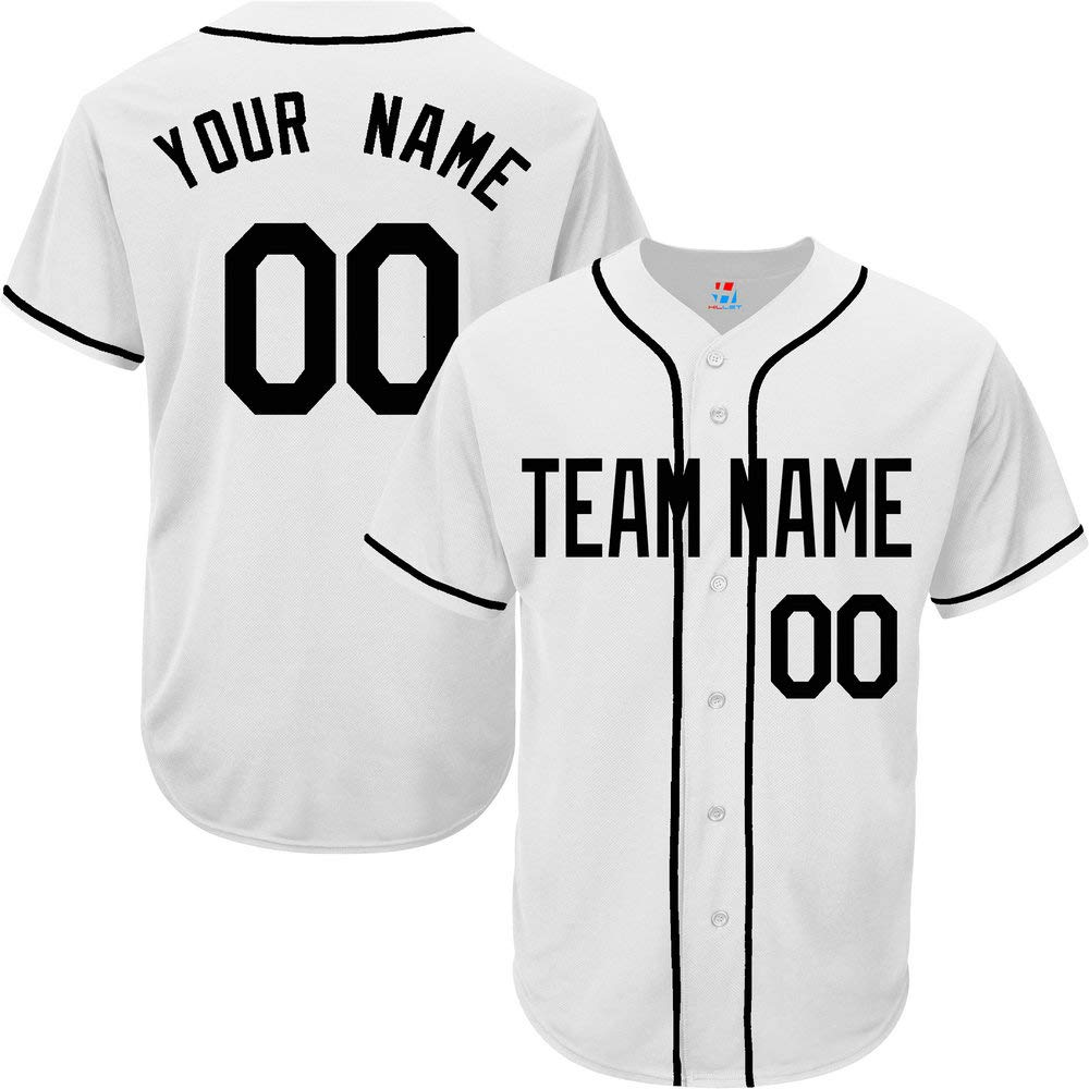 41c910e45ae Amazon.com: White Custom Baseball Jersey for Men Women Youth Full Button  Embroidered Team Player Name & Numbers S-8XL - Design Your Own: Clothing