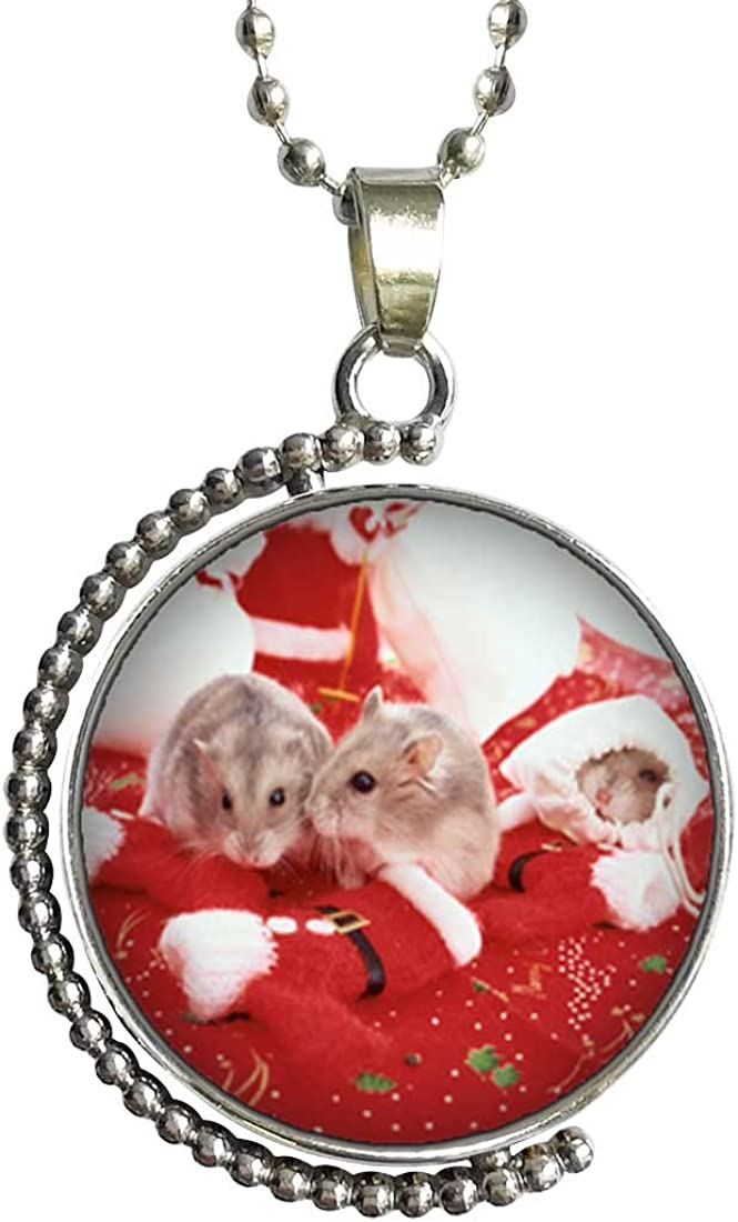 GiftJewelryShop Festive Snowman Glass Cabochon Rotatable Lucky Pendant Necklace