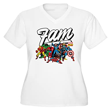 a2763098 CafePress Marvel Comics Fam Women's Plus Size V Neck T Shirt Women's Plus  Size V-