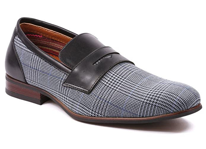 Mens Vintage Style Shoes| Retro Classic Shoes Ferro Aldo MFA-19371 Mens Plaid Slip On Driving Loafers Shoes  AT vintagedancer.com
