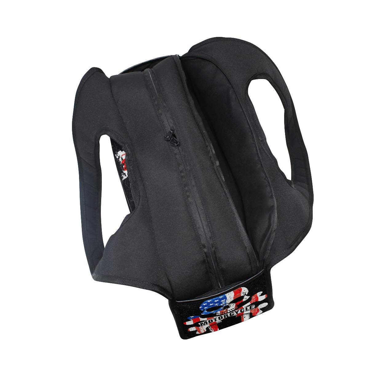 Motorcycle Skull With American Flag Women Sports Gym Totes Bag Multi-Function Nylon Travel Shoulder Bag