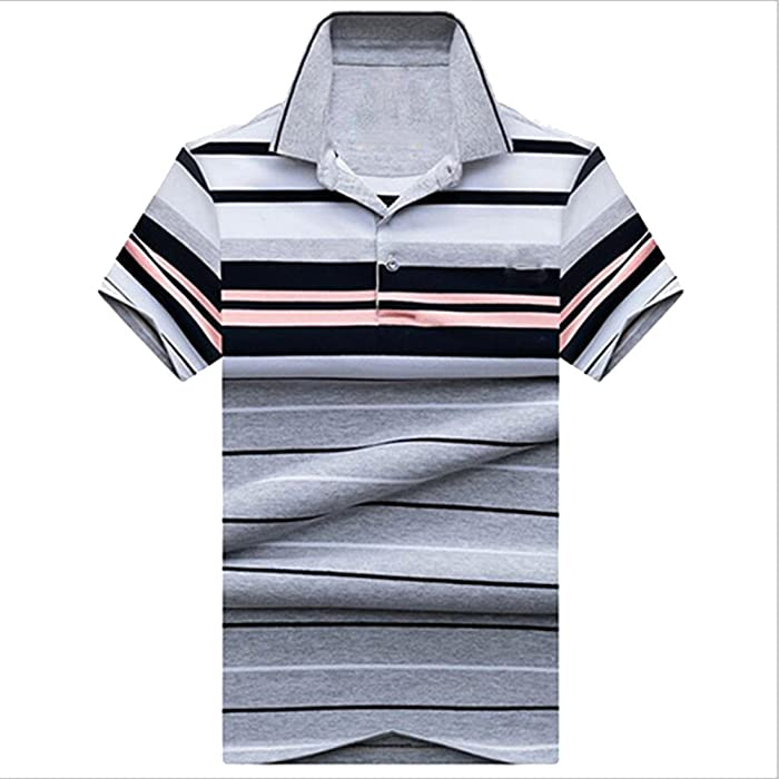 d410e1ab1 ZFADDS Men Top Clothing Summer Breathable Polos Knitted Fabric Striped Polo  Shirt Brand Men s 8089 Gray