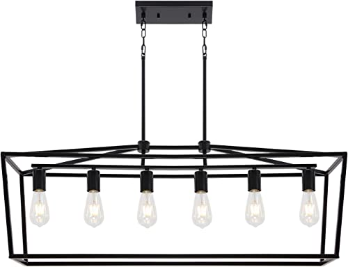 6 Light BONLICHT Farmhouse Kitchen Island Dining Room Chandelier,Matte Black Metal Rectangle Pendant Lighting Cage Ceiling Hanging Light Fixture