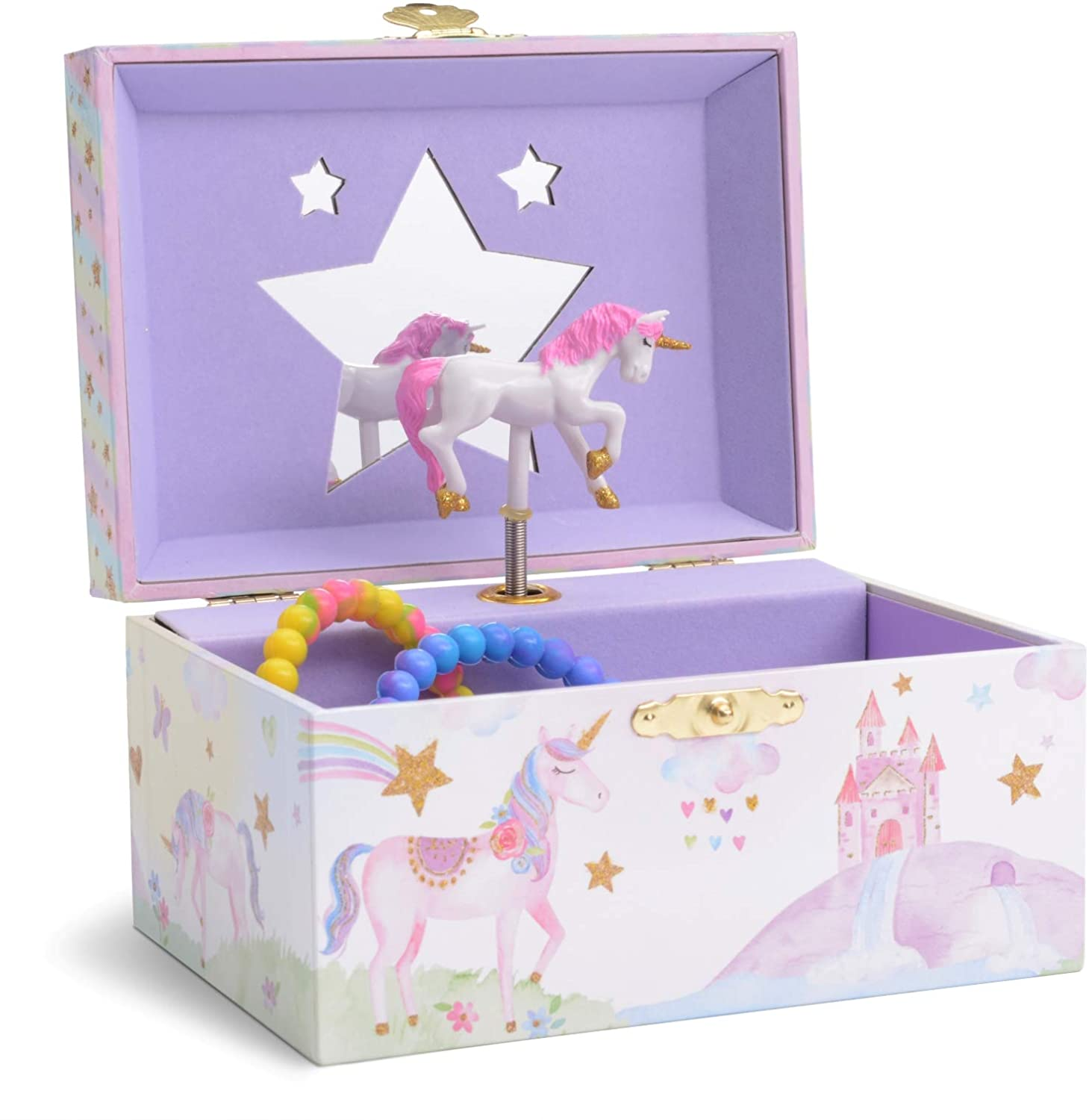 Jewelkeeper Girl's Musical Jewelry Storage Box with Spinning Unicorn, Glitter Rainbow and Stars Design, The Unicorn Tune: Toys & Games