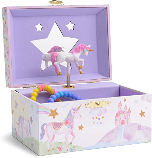 Girl's Musical Jewelry Storage Box with Spinning Unicorn - Gift for Girl