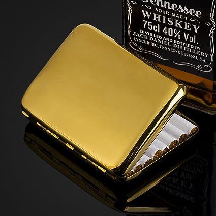 Amazon.com: Pure Copper Plain Gold Plated Cigarette Case Holds 16 Cigarettes: Health & Personal Care