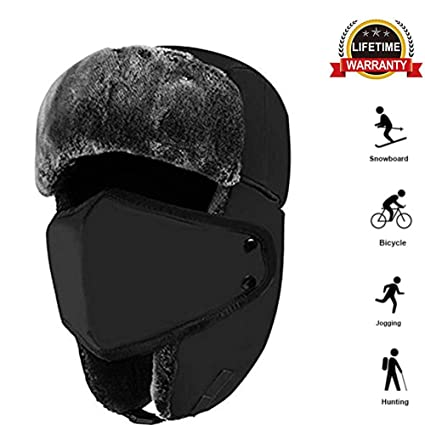 kolodo Winter Trooper Hat - Unisex Windproof Waterproof Warm Russian  Aviator Trapper Hat with Adjustable Chin Strap   Removable Breathable Face  Mask for All ... 95599910d2e9