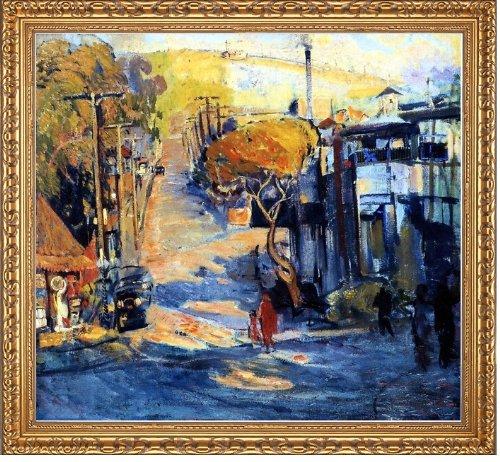 "Art Oyster Joseph Kleitsch Park Avenue- Old Laguna - 16.05"" x 16.05"" Premium Canvas Print with Antique Gold Finish Frame"