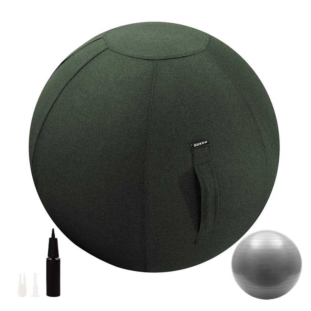 Guken Sitting Ball Chair with Cover, Exercise Yoga Ball for Office and Home Muscle Training Fitness,with Pump and Handle (Green, 75cm)