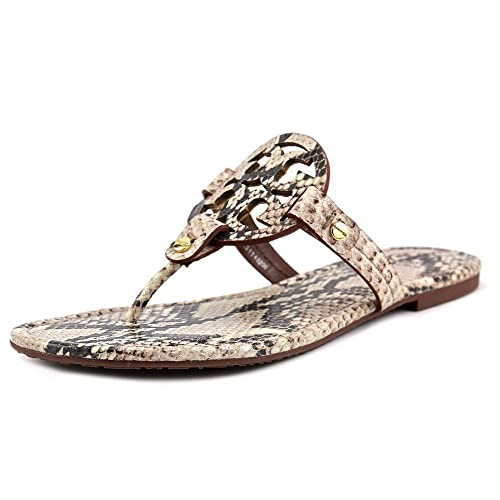 c8419299cc4 Tory Burch Miller Snake Roccia Python Print Logo Thong Sandal Natural Size 7