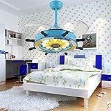 RS Lighting Children Bedroom Stealth 42 inch Blue Ceiling Fan Lights Pirate Ship Steering Wheel Led Fan Chandelier for Living Room Ceiling Lights
